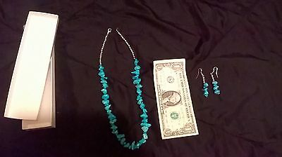 Turquoise necklace and earrings set.