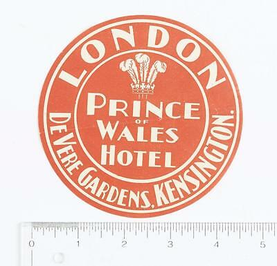 Hotel Prince Of Wales London Vintage Souvenir Luggage Label Decal Advertising
