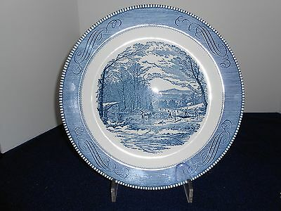 """VTG Currier & Ives 12"""" Round Platter by Royal China, USA"""
