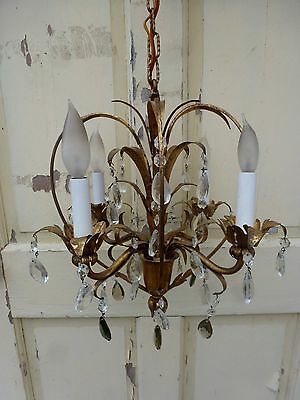 "Vintage Antique french Gold Gilt Petite Chandelier Ceiling Light 31"" by 14"""