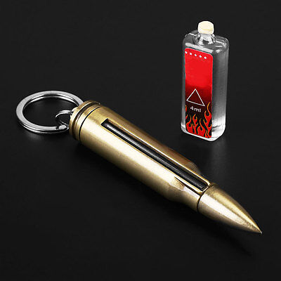 Outdoor Fire Starter Stone Bullet Lighter Camping Safety Survival Key Chain