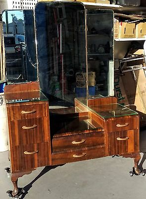 Antique Dressing Table with Wing Mirror & 7 Drawers