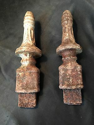 Antique Vtg Cast Iron Post Finials, Ornate, Solid, Garden Architectural