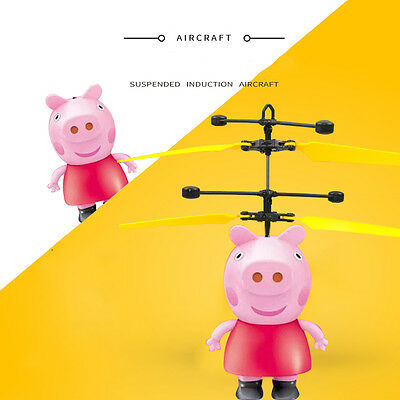 For Peppa Pig Electric RC Fly Ball Infrared Induction Aircraft Flash LED Toy