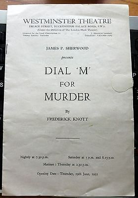 """DIAL """"M"""" For MURDER by Frederick Knott Westminster Theater London 1952 Playbill"""