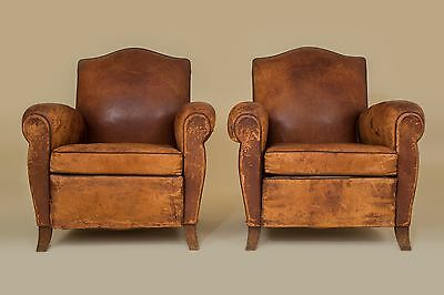 French Vintage Leather Pair of Club Chairs (Versailles)