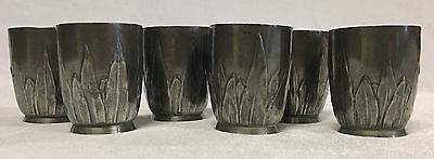 Antique Art Nouveau WMF Pewter Tumblers 6 PCE Set