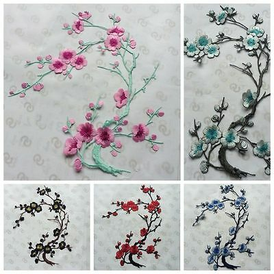Embroidered Plum Blossom Flower Patch Sew/Iron on Applique Craft Clothes Decor
