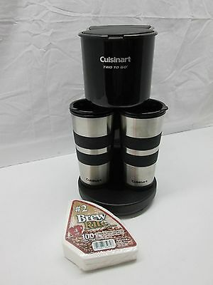 Cuisinart Two To Go Coffee Maker w/ 2 Thermal Mugs & 100 Pack of Filters TESTED