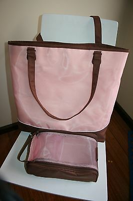 Creative Memories Vintage Project Tote and Memory Mate Case Pink Brown EUC