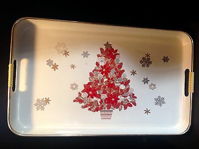 Vintage Lacquerware Christmas Serving Tray Made In Japan