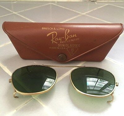 Vintage Ray Ban Bausch and Lomb Clip on Aviator Sunglasses with Leather Case