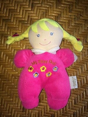 """Stephan Baby Plush 8"""" Pink MY FIRST DOLL Baby Rattle Toy Blonde Braids Blue Eyes"""
