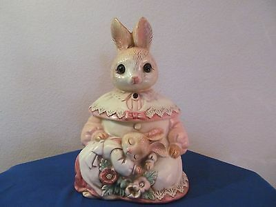 Vintage Pottery Bunny Rabbit And Baby Cookie Jar! 1950's!