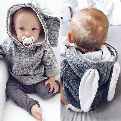 2pcs Newborn Toddler Infant Baby Boy Girl Clothes Hooded Top+Pants Outfits Set