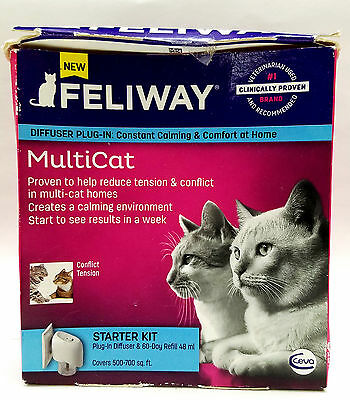 Feliway Starter Kit Plug-In Diffuser & 60-Day Refill 48 ml (NEW IN DAMAGED BOX)