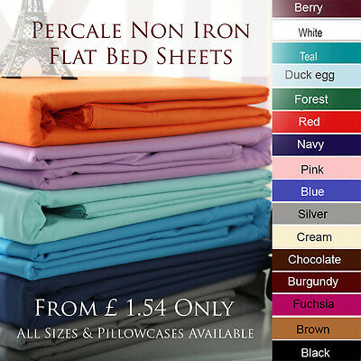 Polycotton Percale FLAT Sheet Bed Sheets Non Iron Single Double King Superking