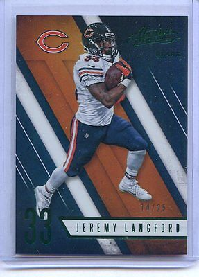 2016 Panini Absolute NFL Jeremy Langford Chicago Bears #14/25