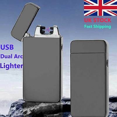 USB Electric Dual Arc Metal Flameless Torch Rechargeable Windproof Lighter DY90