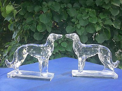 Art Deco Glass Borzoi/russian Wolfhound Statues/bookends