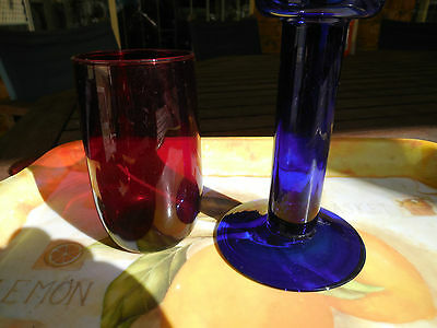 Wonderful Blue And Red Glass Vases