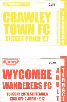 2 Aldershot 04/05 Match Tickets V Crawley Town And Wycombe Wanderers.