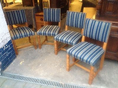 Set Of 4 Continental Light Oak Dining Chairs With Studded Striped Upholstery