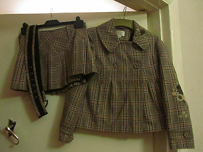 Girls Brown Tweed Wool Blend Next Suit - Jacket & Skirt - 11 - 12 years