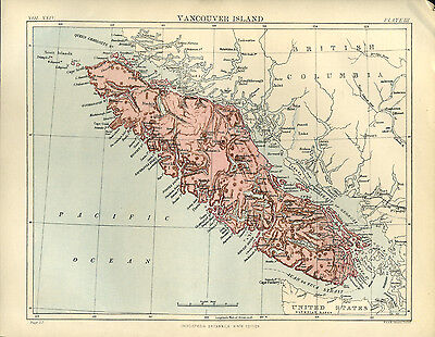 Antique Colour Map of USA States of VANCOUVER ISLAND color map 1888