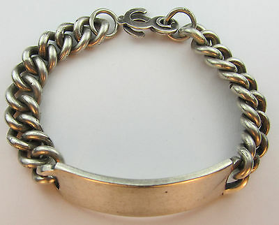 Vtg 49g Sterling Silver Taxco Mexico ID Heavy Chain Link Bracelet Modernist