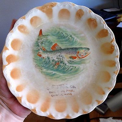 Advertising Plate 1930's Compliments of Quinter Furniture, Pink Salmon Vintage