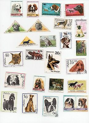 Dogs on Stamps 25 All Different and Off Paper