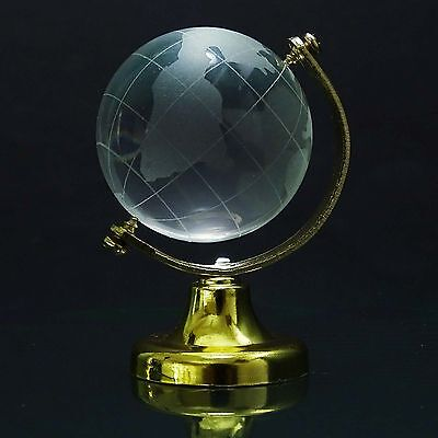 Collectible Mini World Globe Crystal Clear Frosted Paper Weight Table GL25A