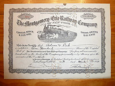 RR: Montgomery & Erie Railway of New York, 1930, div. Shares, # 853 *