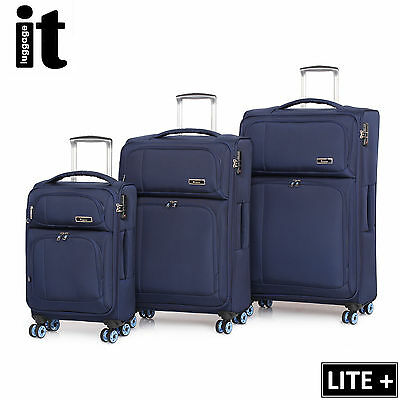IT Luggage LITE Trolley Suitcase 3Pc Set TSA Travel Carry On Bag Lightweight 8Wh