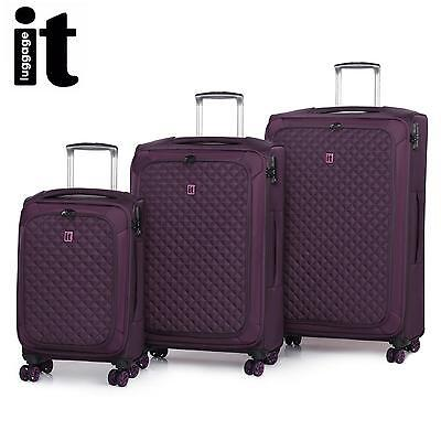 IT Luggage The LITE Trolley Suitcase 3Pc Set TSA Travel Carry On Bag Lightweight