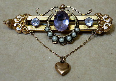 Beautiful Antique 9Ct Gold Amethyst & Pearl Brooch Pin