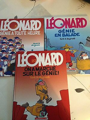 Lot de 3 BD Leonard En TBE