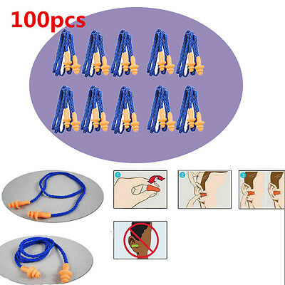 100 Pairs Silicone Corded Ear Plugs Reusable Hearing Protection Earplugs Soft