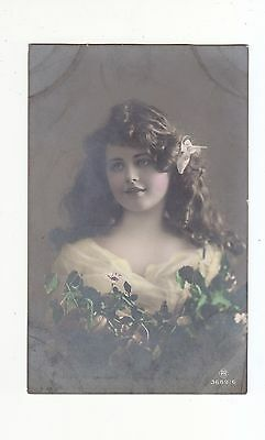 CHARMING POSTCARD HEAD AND SHOULDER POSE OF A GIRL-CARLTON PUBLISHING No 3689/6
