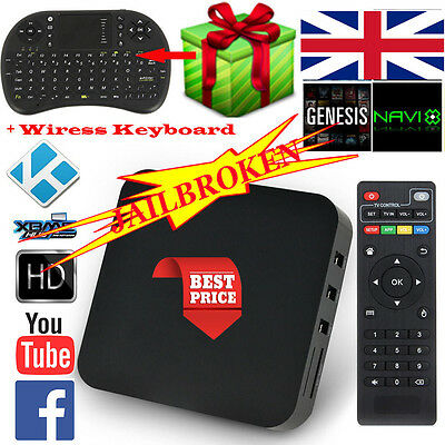 KODI(XBMC) Quad Core 1G 8G Android 4.4 TV Box Fuly Loaded Kodi Sports + Keyboard