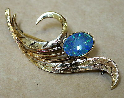 Beautiful Vintage Gold Plated Sterling Silver Opal Triplet Brooch Pin