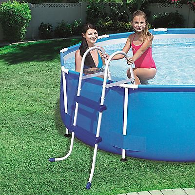 Brand NEW 2 Step Iron Tube Plastic Steps Above Ground Swimming Pool Ladder 58329
