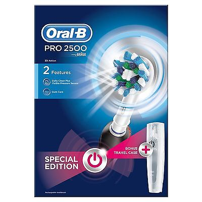 Braun Oral B Electric Toothbrush Pro 2500 With Travel Case Brand New