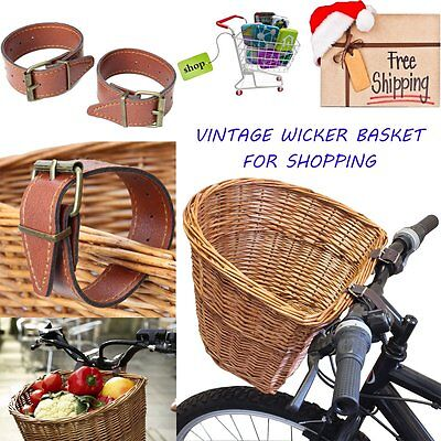 Vintage Wicker Bicycle Basket With Leather Straps Bike/cycle Christmas Shopping