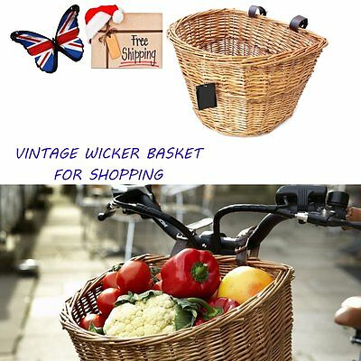 Wicker Bicycle Basket W/ Leather Straps Bike/cycle For Christmas Shopping Gift