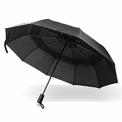 Pomelo Best Double Canopy Windproof Umbrella, Auto Open and Close Black