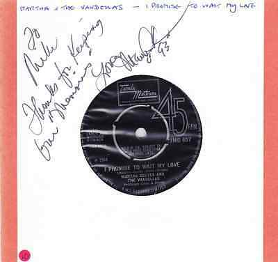 Signed Martha Reeves & The Vandellas Record --  7 INCH 45 RPM - Tanla Motown