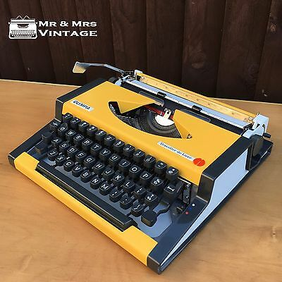 Immaculate Olympia Traveller De Luxe Yellow Typewriter Working Black Red Ribbon