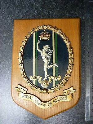 WWII World War Two - King Crown Plaque - Royal Corps of Signals - Certa Cito